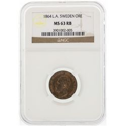 1864 L.A. Sweden ORE Coin NGC MS63RB