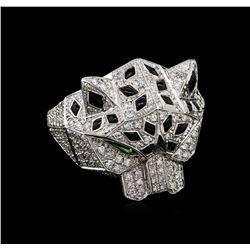 0.95 ctw Diamond and Chrome Diopside Ring - 18KT White Gold
