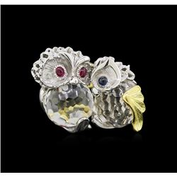 24.78 ctw White Topaz, Ruby and Sapphire Ring - 18KT Two-Tone Gold