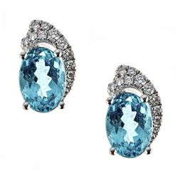1.69 ctw Apatite and Diamond Earrings - 18KT White Gold