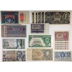 Various Austrian Issuers. 1919-1969. Group of 52 Issued Notes.
