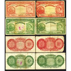 Bahamas Government. ND (1953). Quartet of Issued Notes.