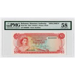Bahamas Monetary Authority. 1968. Specimen Banknote.