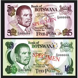 Bank of Botswana. ND (1982-1983). Pair of Specimen Notes.