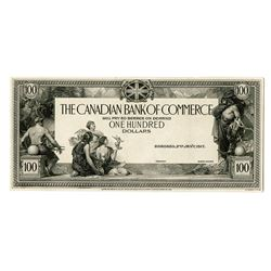Canadian Bank of Commerce, 1917 (1924)  $100 Progress Proof Face.