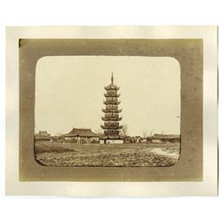 Photographs of Pagoda and Chinese Junk Ship ca.1870-90 Albumen Prints.