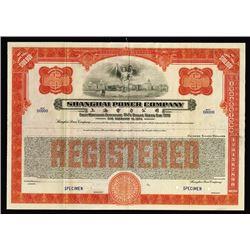 Shanghai Power Co. 1933, Specimen 5 1/2% Dollar Series Coupon Bond.
