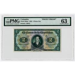 Banco de la Republica. 1923. Front Proof Banknote.