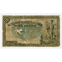 El Tesoro de la Isla de Cuba, (1891), 10 Pesos, P-40, black and green underprint, Mercury, unsigned,