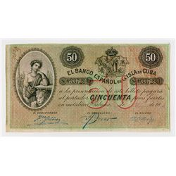 El Tesoro de la Isla de Cuba. 1896, Issued Banknote.