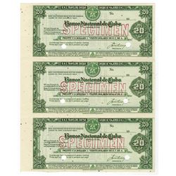 Banco Nacional de Cuba Uncut Sheet of 3 Specimen Travelers Checks.