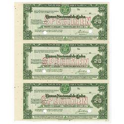 Banco Nacional de Cuba Uncut Sheet of 3 Specimen Travelers Checks.