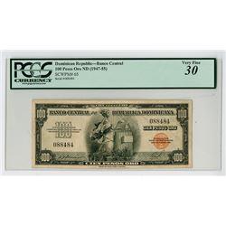Banco Central De La Republica Dominicana, ND (1947-55) Issued Banknote.