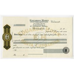 Eduardo Horn Specimen 2nd Bill of Exchange Specimen by Waterlow & Sons.