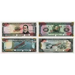 Banco Central de Reserva de El Salvador. 1962-1974. Quartet of Specimen Notes.