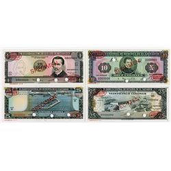 Banco Central de Reserva de El Salvador. 1962-1974. Quartet of Specimen Notes.