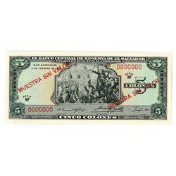 El Banco Central de Reserva de El Salvador, 1969, Specimen Note
