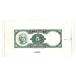 Banco Central de Reserva de El Salvador, 1968-1970, Reverse Proof