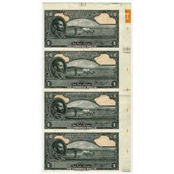 State Bank of Ethiopia. ND (1945). Uncut Sheet of 4 Specimen/Proof Banknotes.