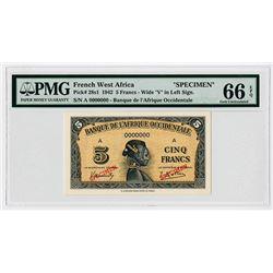 Banque De L'Afrique Occidentale, 1942 Specimen Banknote.