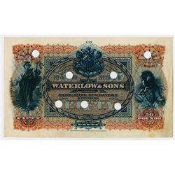 Waterlow & Sons ca.1880-1900 Specimen Advertising Note.