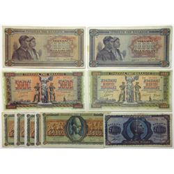 Bank of Greece Inflation Issues, An Assortment of 5,000 & 10,000 Drachmai Notes from the 1940s
