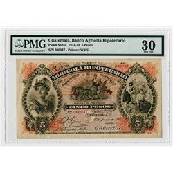 Banco Agricola Hipotecario. 1917. Issued Banknote.