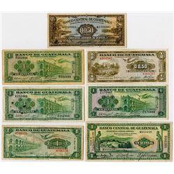 Banco Central & Banco de Guatemala. 1941-1958. Septet of Issued Banknotes.