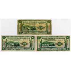 Banco Central de Guatemala. 1942-1946. Trio Issued Banknotes.