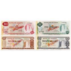 Bank of Guyana. ND (ca. 1970's). Quartet of Archive Specimens.