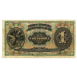 Banque Nationale de la Republique d'Haiti, 1919, Issued Note.