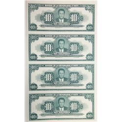 Banque De La Republique D'Haiti ND (1947-55) Proof Uncut Sheet of 4 Banknotes.