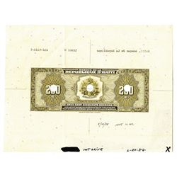 Banque de la Republique d'Haiti, 1988, Back Proof Note