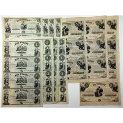 Hungarian Government in Exile Uncut Remainder Sheets, ca.1848-1849 (12 Sheets)
