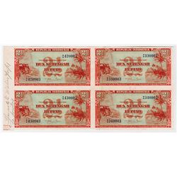 Republik Indonesia, 1951 Issue Uncut Specimen Block of 4.