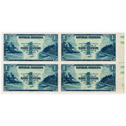 Republik Indonesia. 1953 Issue Uncut Proof/Specimen Block of 4 notes.