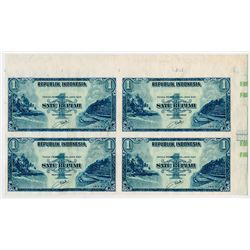 Republik Indonesia. 1953 Issue Uncut Proof/Specimen Corner Block of 4 notes.