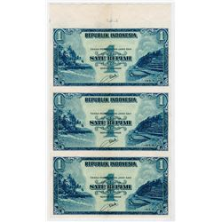 Republik Indonesia. 1953 Issue Uncut Proof/Specimen Vertical Strip of 3 notes.