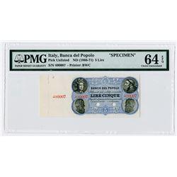 Banca del Popolo. ND (1866-1871). Specimen Banknote.