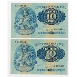 Eesti Pank, 1937 Sequential Banknote Pair.