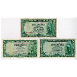 Latvijas Bankas, 1938 Trio of P-21a Notes