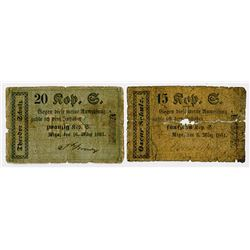 Theodor & Oscar Schulz. 1861. Pair of Local Scrip Notes.