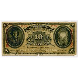 Banco de Queretaro, 1905 to 1914 Issue Banknote Quartet.