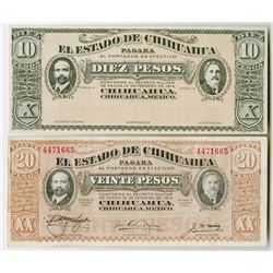 Estado de Chihuahua. 1914-1915. Pair of Banknotes.