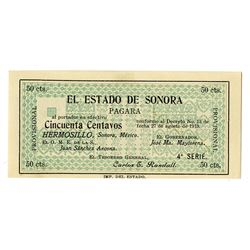 Estado de Sonora, 1913, Issued Note