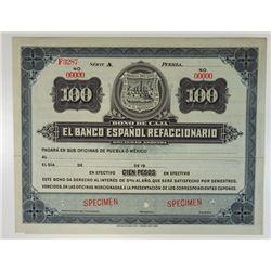 Banco Espanol Refaccionario, Bono De Caja ca.1900-1910 Specimen Circulating Bond/Banknote.