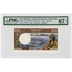 New Hebrides, Institut d'Emission d'Outre-Mer ND (1975) High Grade Banknote, Tied with Finest Known.