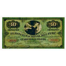 Banco Nacional Del Peru, 1873 Issued Banknote.