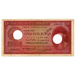 Banco Nacional Ultramarino. 1945. Cancelled Issued Note.