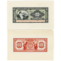 Canadian Bank of Commerce, 1921 Issue Face & Back Proofs.